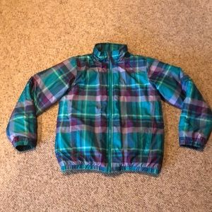 The North Face green purple plaid winter Jacket 14